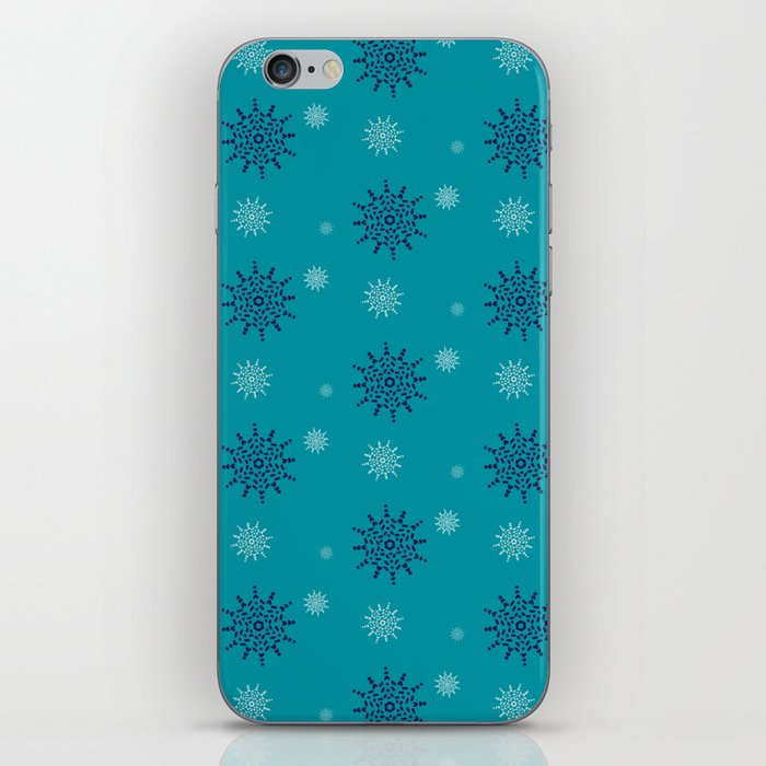 Blue and White Snowflakes iPhone Skin