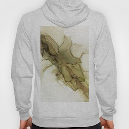 Olive Gold Earth Tones Abstract Ink Hoody