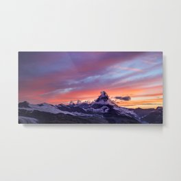 Himalayas Fishtail Mountain Sunset Metal Print