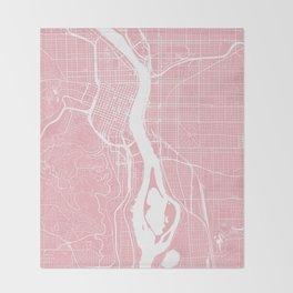 Pink City Map of Portland, Oregon Throw Blanket