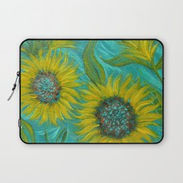 Sunflower Abstract on Turquoise I Laptop Sleeve