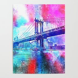 Colorful New York Pink Blue Photograph Poster