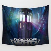dr who Wall Tapestries featuring Dr Who by giftstore2u