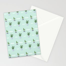 Modern teal green white triangles cactus floral pattern Stationery Cards