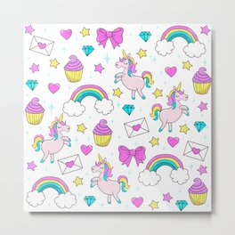 Cute Unicorn Pattern Metal Print