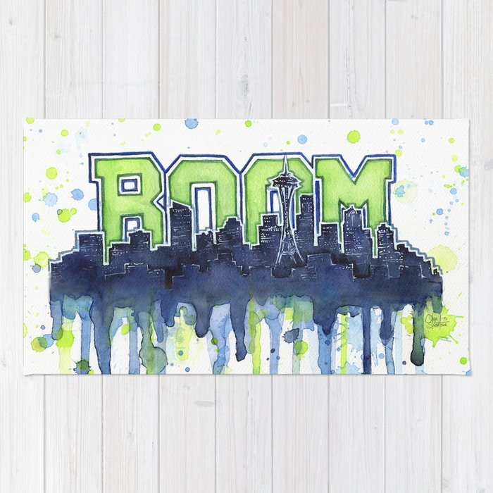 Seattle 12th Man Seahawks Painting Legion Of Boom Art Rug