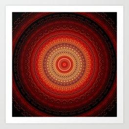 Red Golden Bohemian Mandala Art Print