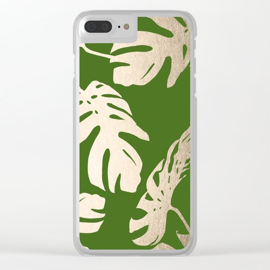 Palm Leaves White Gold Sands on Jungle Green Clear iPhone Case