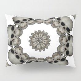Creepy Human Skull Mandala Pillow Sham