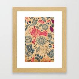 Vintage Flower and Birds Framed Art Print