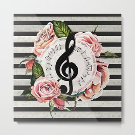 Treble Clef with Watercolor Roses Metal Print