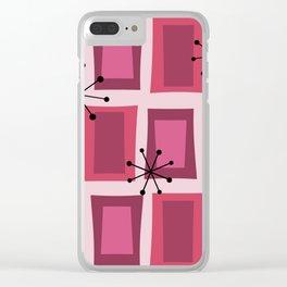 Mid Century Modern Art 'Wonky Doors' Pink Purple Clear iPhone Case