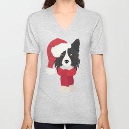 Border Collie Christmas Dog Unisex V-Neck