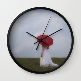 Bride with red umbrella Wall Clock