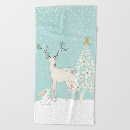 Winterforest with Deer, bunny and tree - Merry christmas! Beach Towel