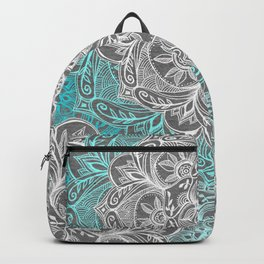 Turquoise & White Mandalas on Grey Backpack