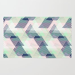 Geometric pattern in pastel mint, pink, blue colors Rug