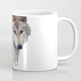 Double exposure of wolf and pine forest on white background Coffee Mug