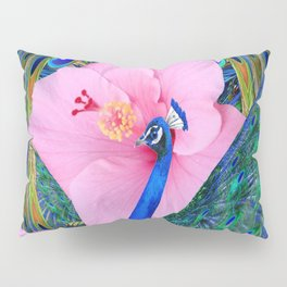 BLUE PINK HIBISCUS FLOWERS & BLUE-GREEN PEACOCK Pillow Sham