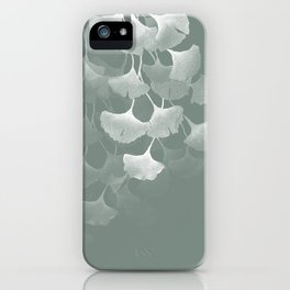 Abstract Watercolor Painting White Ginkgo Leaves - sage green iPhone Case