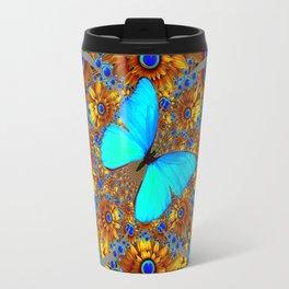 BLUE & GOLD ART DECO BUTTERFLIES & FLOWERS VIGNETTE Travel Mug