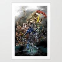 dark souls Art Prints featuring Dark Souls Knights of Gwyn by Donna A. / Karniz