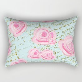 Pink  Roes and French Script Rectangular Pillow