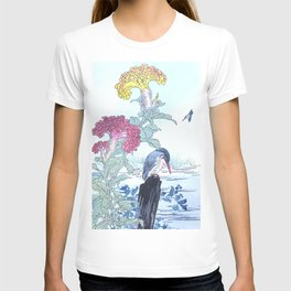 Kono Bairei - Kingfishers And Cockscomb Flowers - Vintage Japanese Woodblock Print Art  T-shirt