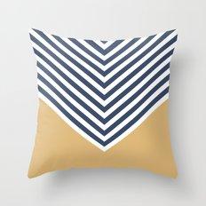 Gold & Navy Chevron Throw Pillow