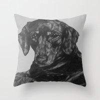 dachshund Throw Pillows featuring Dachshund by Natasha Maiklem