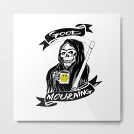 Good Mourning V2 Skulls and Coffee Metal Print