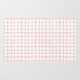 Pantone rose quartz grid pattern print minimal lines cross swiss cross painting hand drawn pastel Rug