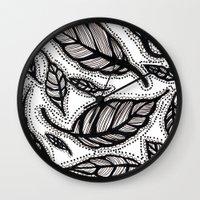 alisa burke Wall Clocks featuring black and white leaves by Alisa Burke