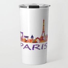 París City Skyline HQ Watercolor Travel Mug