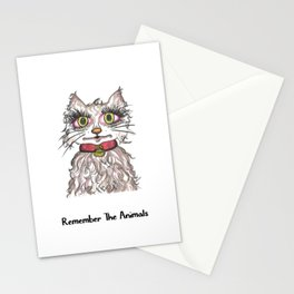 Remember The Animals Cute Cat T-Shirt Stationery Cards