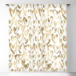 Gold Love Hearts Pattern on White Blackout Curtain