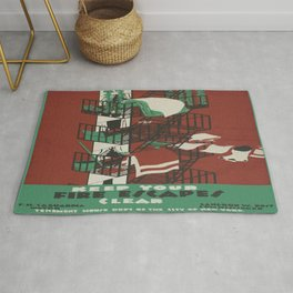 Vintage poster - Keep Your Fire Escapes Clear Rug