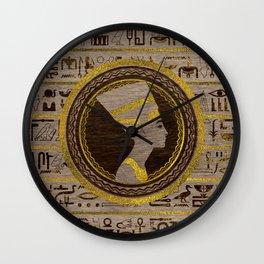 Pyrographed Golden Nefertiti on wood Wall Clock