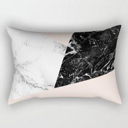Black white marble blush pink color block Rectangular Pillow