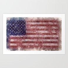 US Flag worn out Art Print