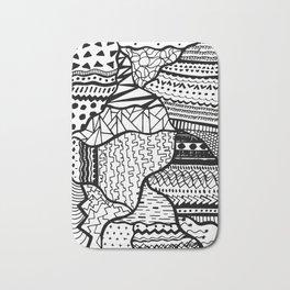 Free Hand Drawn Random Black and White Patterns Bath Mat