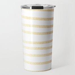 Simply Drawn Stripes Golden Copper Sun Travel Mug