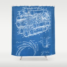 Airplane Jet Engine Patent - Airline Engine Art - Blueprint Shower Curtain