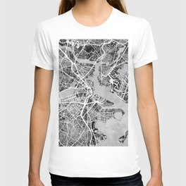 Boston Massachusetts Street Map T-shirt