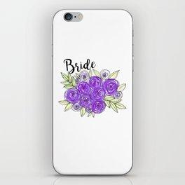 Bride Wedding Bridal Purple Violet Lavender Roses Watercolor iPhone Skin