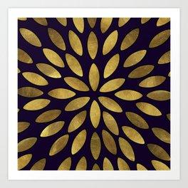Classic Golden Flower Leaves Pattern Art Print