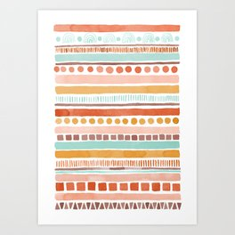 Boho Stripes - Watercolour pattern in rusts, turquoise & mustard. Nursery print Art Print