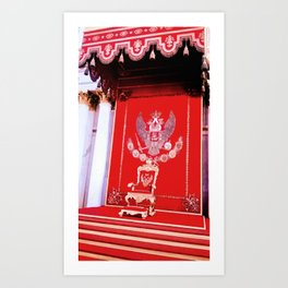 Intensity of red on the King's chair. Art Print