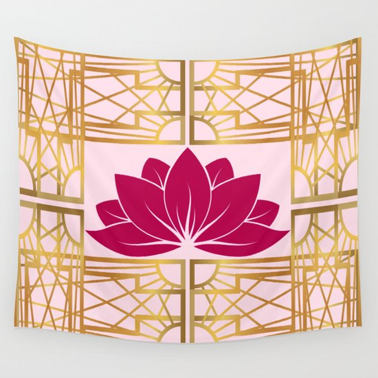 art deco retro lotus cerise wall tapestry by nataliecatlee society6. Black Bedroom Furniture Sets. Home Design Ideas