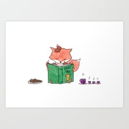 Little foxes - Reading together Art Print